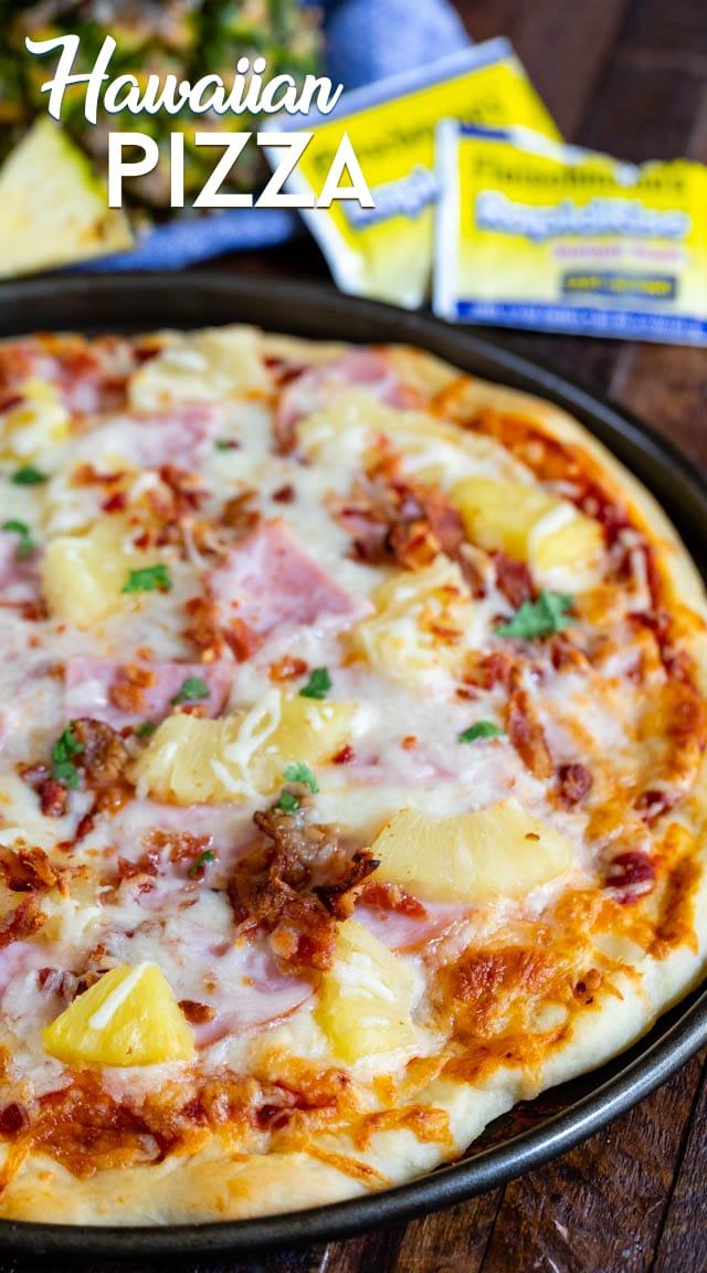 shot of full homemade pizza