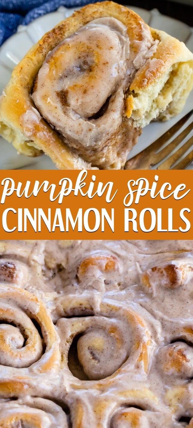 collage photo of pumpkin spice cinnamon rolls