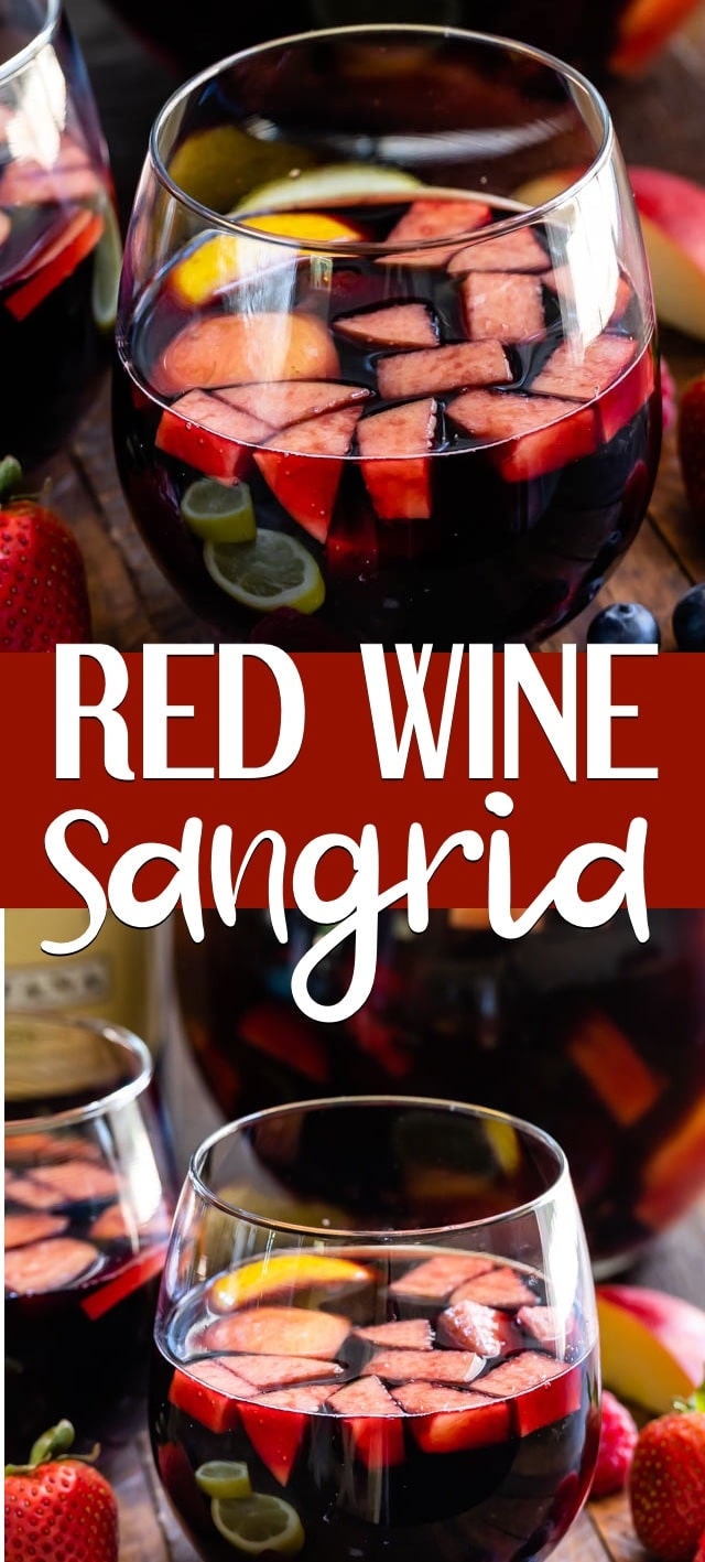 collage of red sangria recipe photos