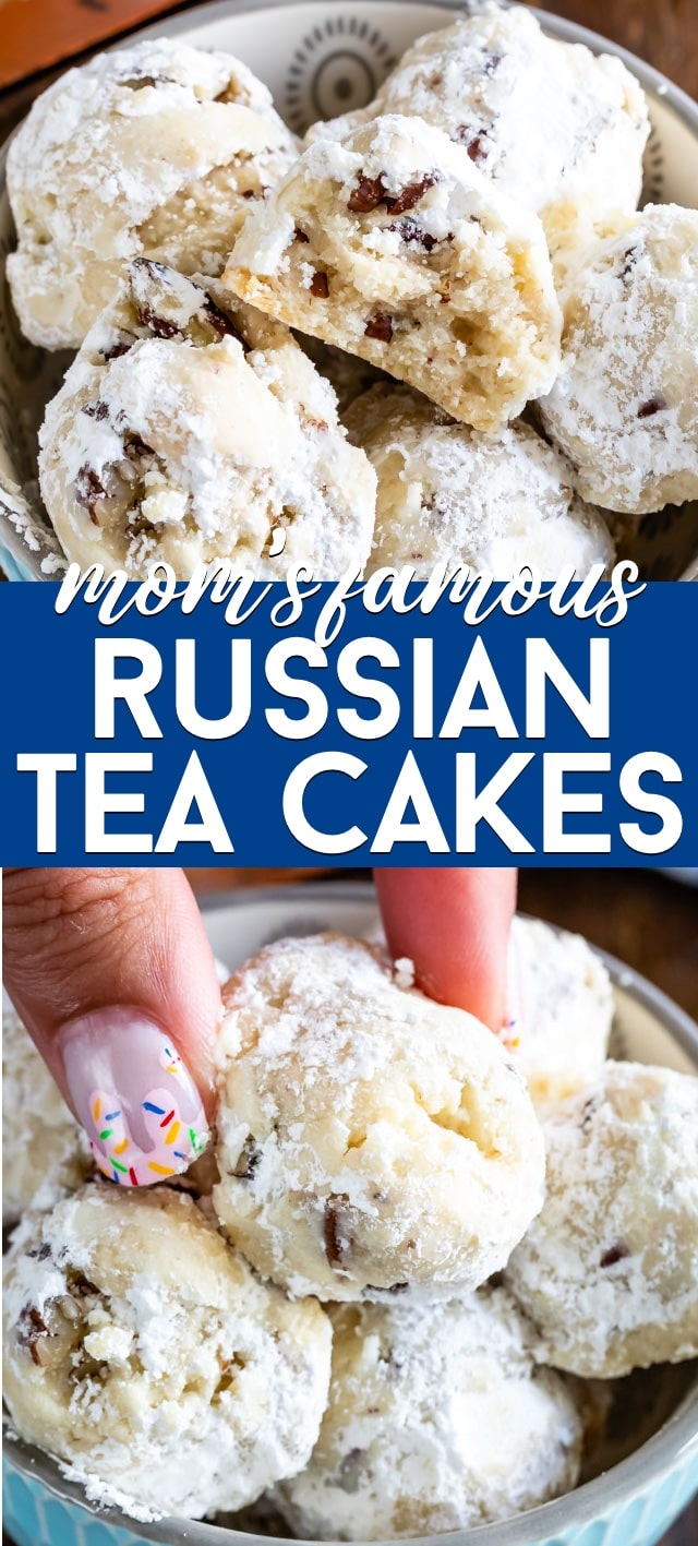 collage of russian tea cake photos