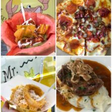 collage of food photos from beaches resorts