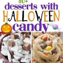collage of halloween candy desserts