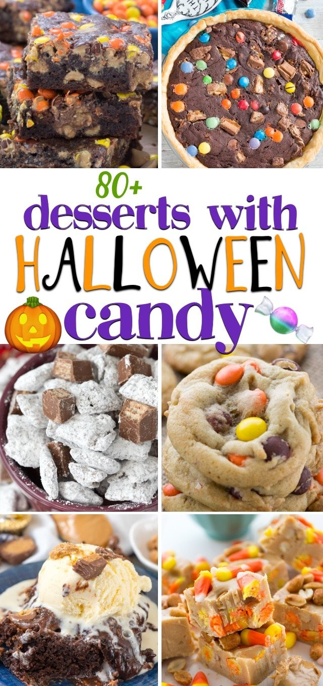 collage of recipe photos to use with halloween candy