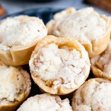 mini pies on blue plate