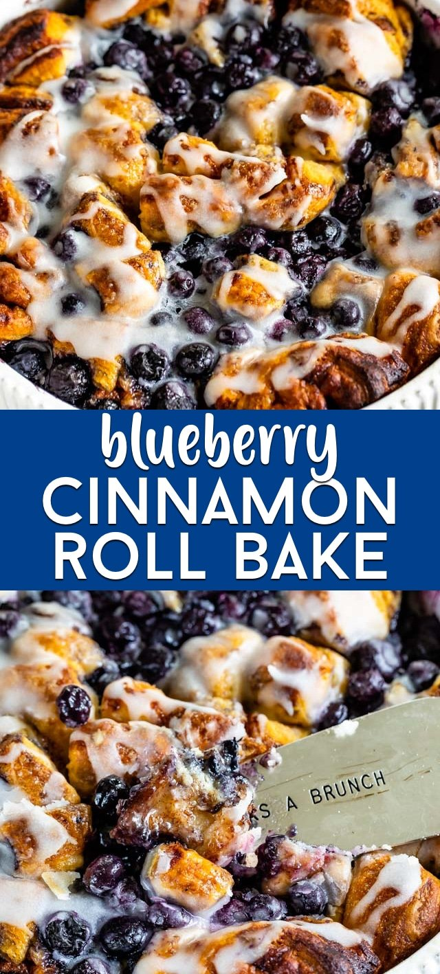 Blueberry cinnamon roll bake collage