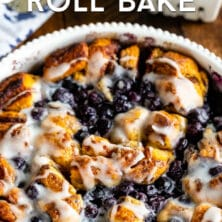 Blueberry cinnamon roll bake casserole