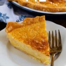 slice of buttermilk pie on white plate