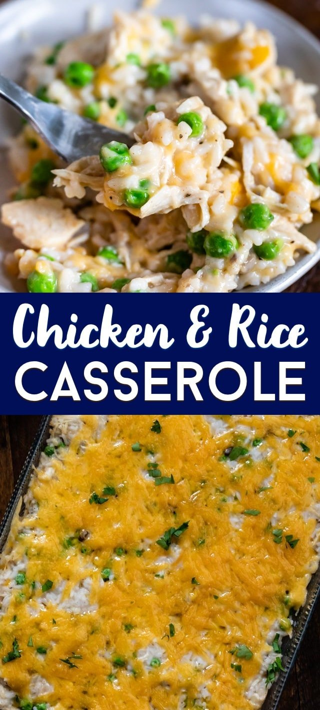 chicken and rice casserole collage