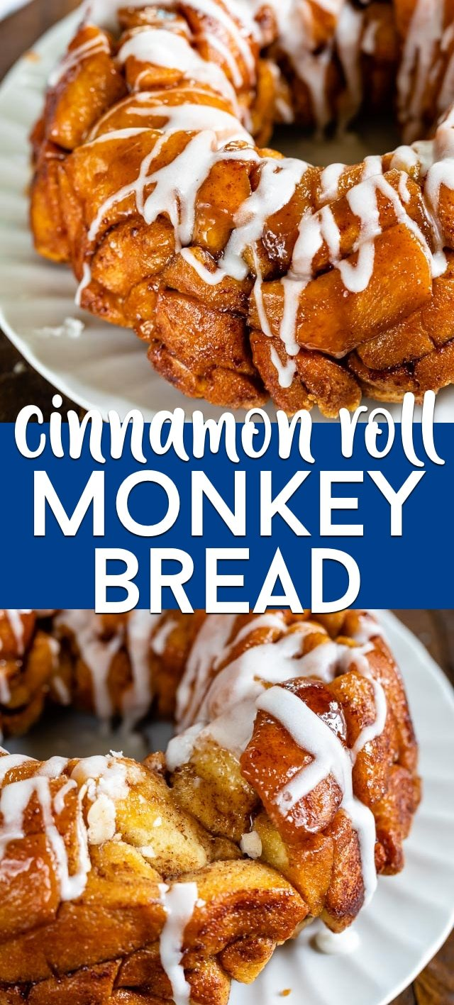 Cinnamon roll monkey bread collage