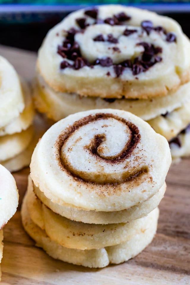 cinnamon sugar pinwheel cookies in a stack