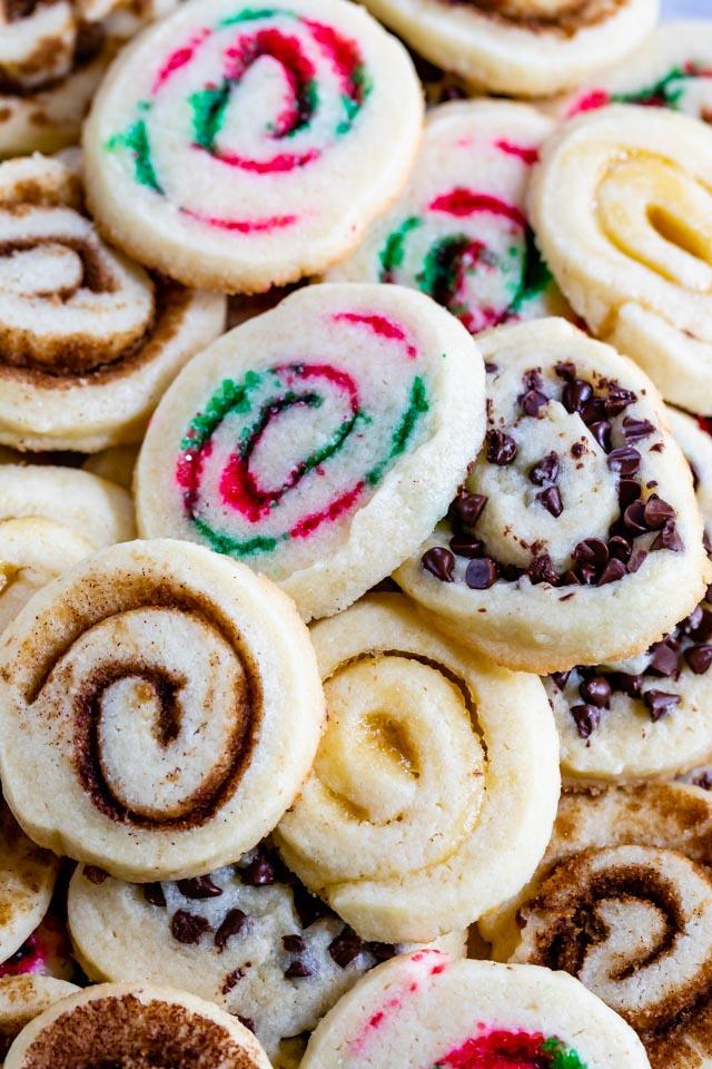 overhead shot of tray of pinwheel cookies