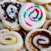 overhead shot of spiral cookies