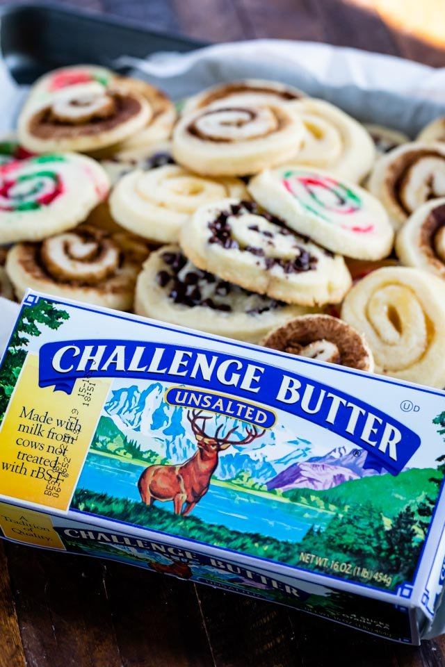 challenge butter box with cookies behind