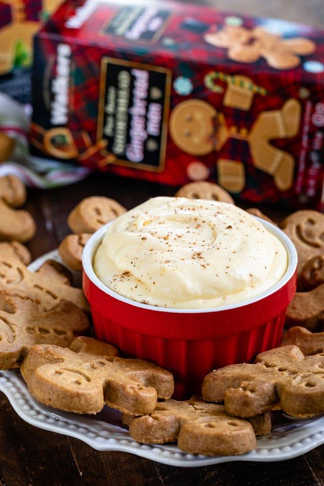 bowl of eggnog pudding with gingerbread men