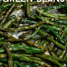 garlic green beans on pan