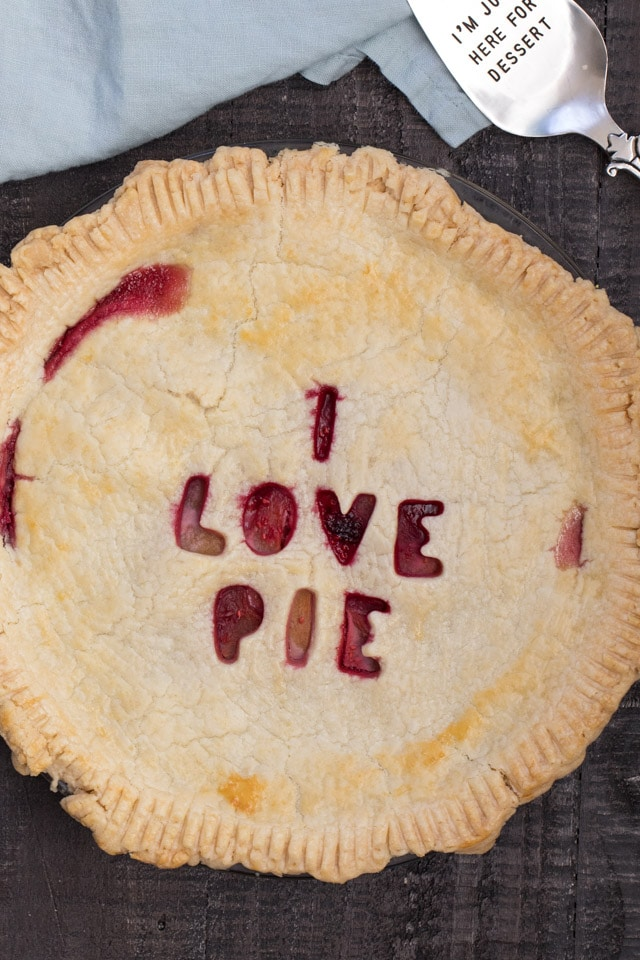 pie with I love you cutout