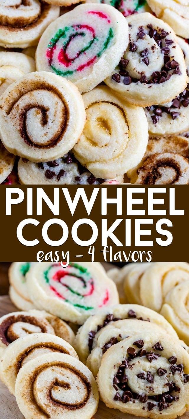 collage of pinwheel cookies