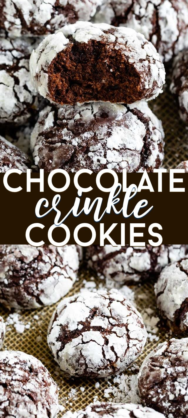 Chocolate cookie crinkle collage