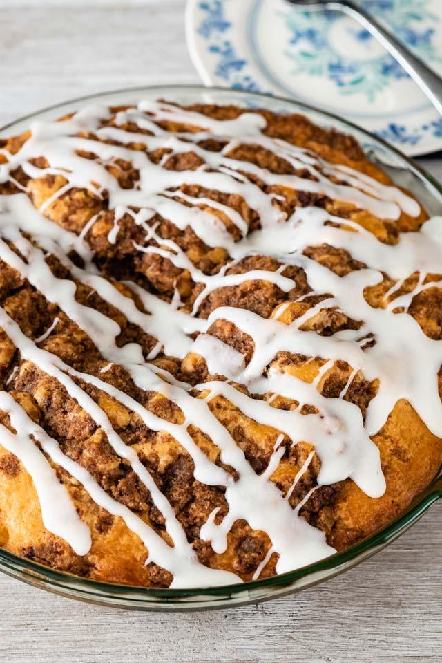 overhead shot of cinnamon roll coffee cake