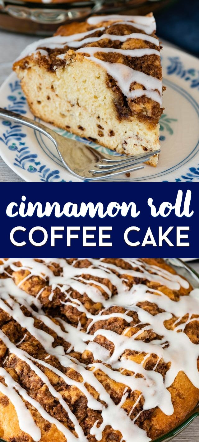 cinnamon roll coffee cake pie collage photos