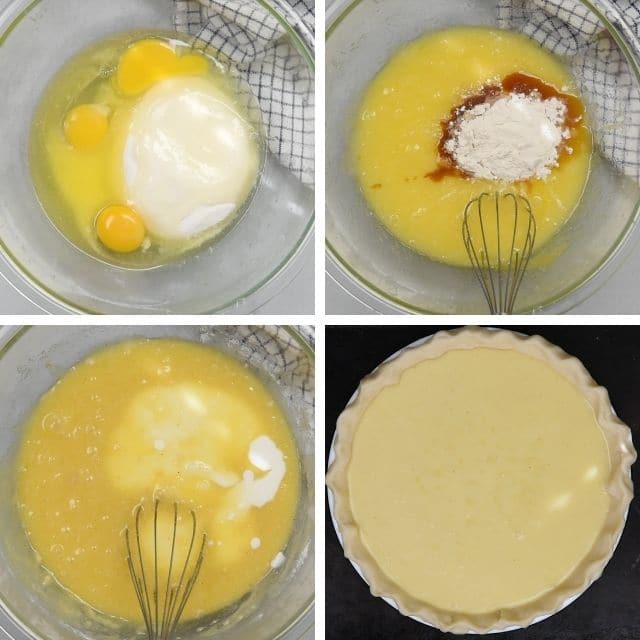collage of 4 photos showing how to make buttermilk pie