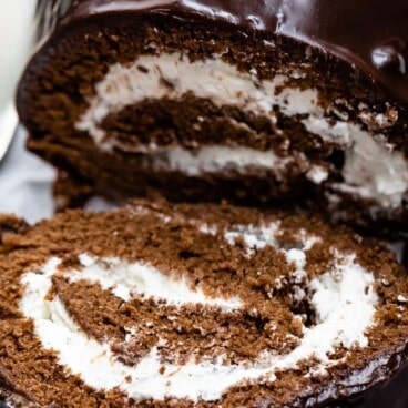 Chocolate swiss roll cake close up