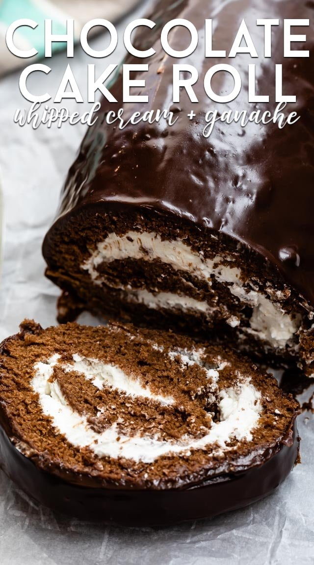 chocolate roll cake with whipped cream