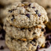 stack of breakfast cookies with chocolate chips