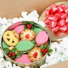collage image of cookies in box