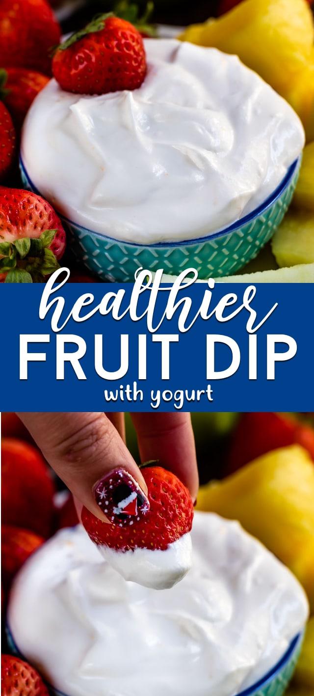 Healthier fruit dip collage
