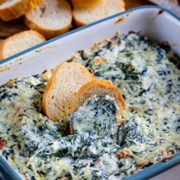 Hot spinach dip dish