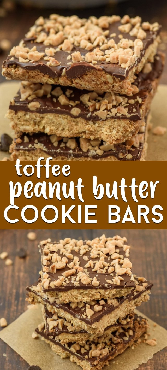 Peanut butter toffee bar collage