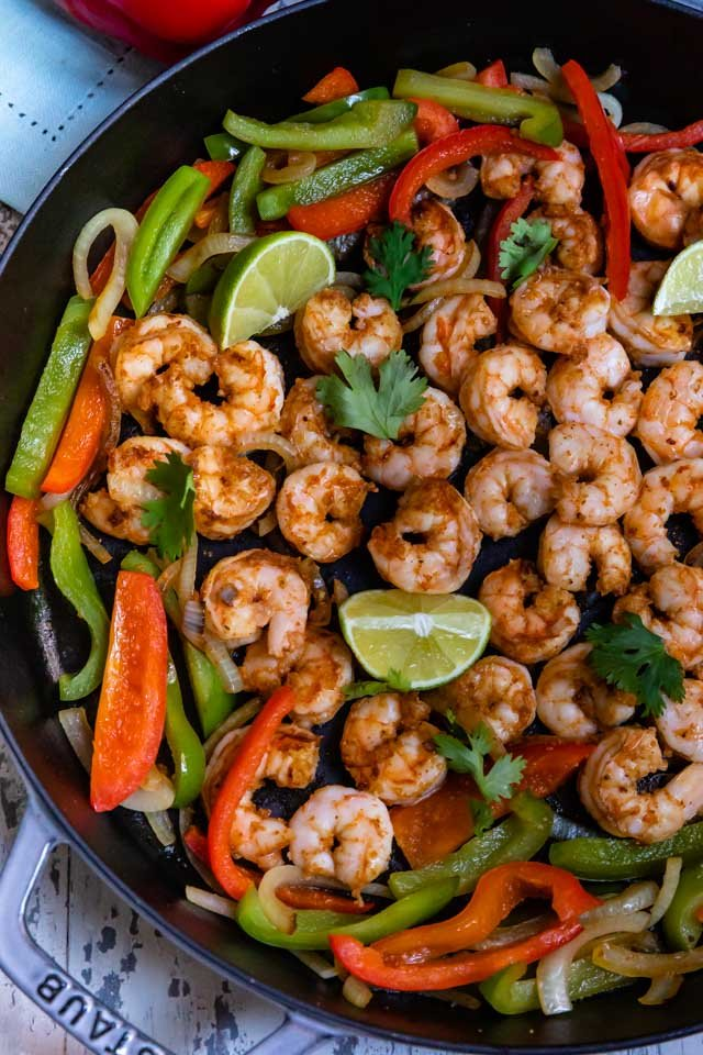 Sauteed shrimp and peppers