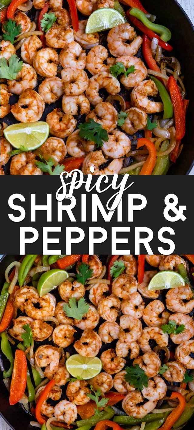 Spicy shrimp and peppers collage