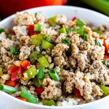 Bowl of ground turkey and peppers