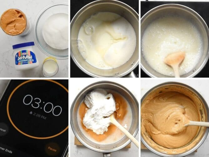 collage of 6 photos showing how to make peanut butter fudge