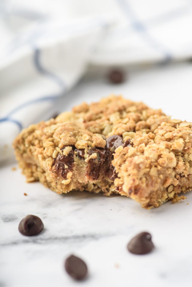 Bite of chocolate chip peanut butter oatmeal bars