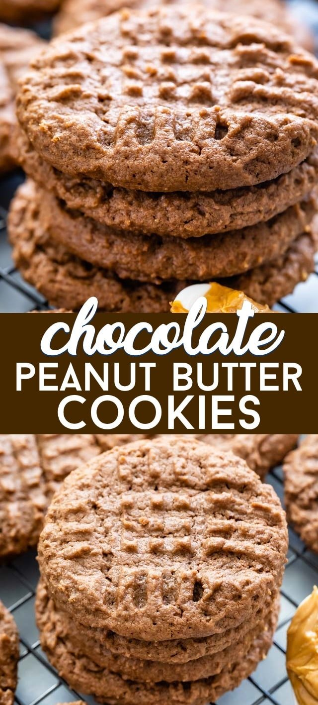 Chocolate peanut butter cookies collage