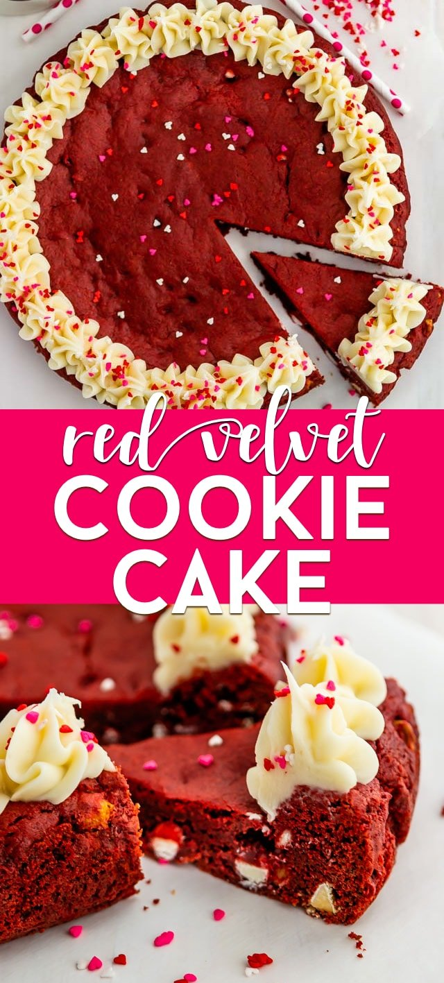Red velvet cookie cake collage with title