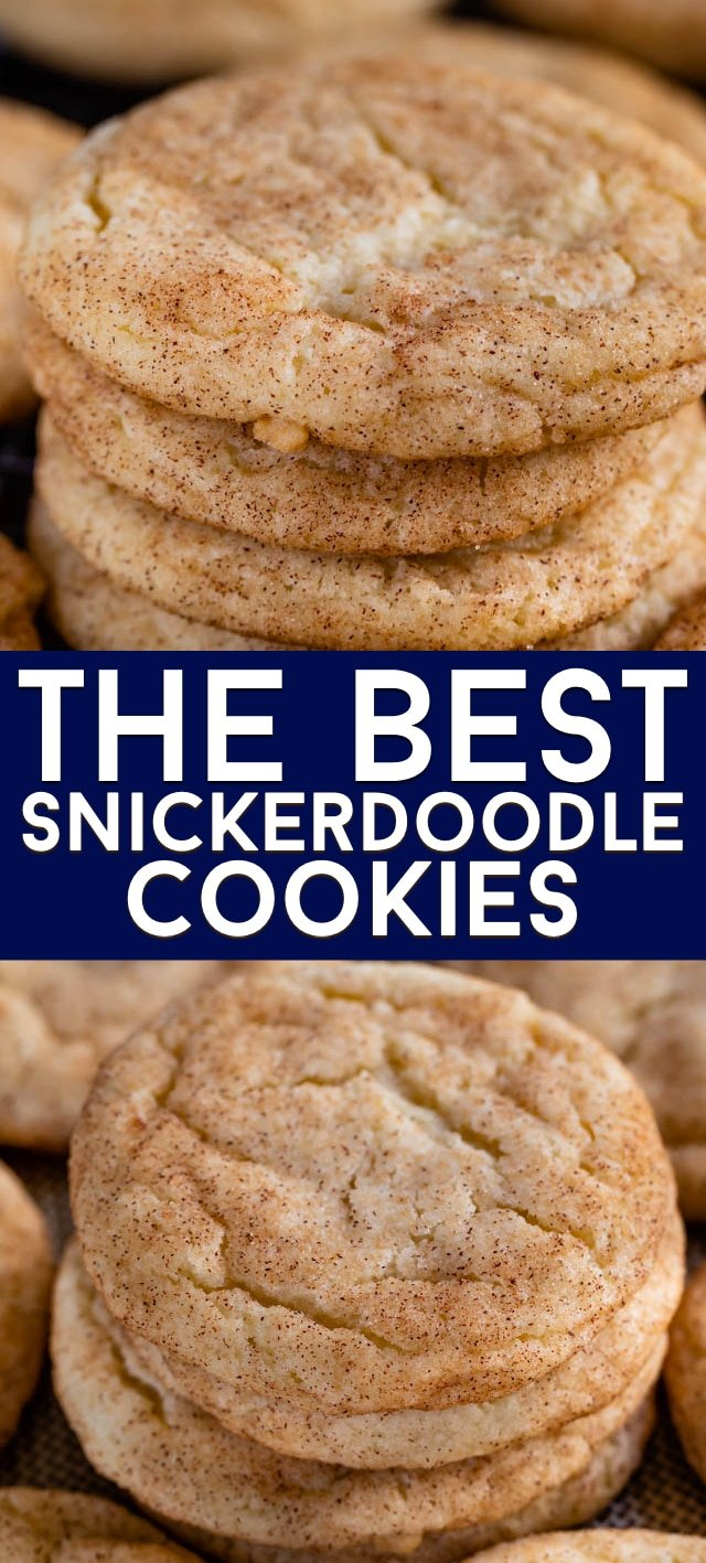 Collage of snickerdoodle cookies recipe photos