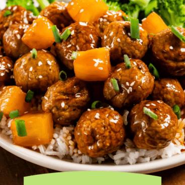 teriyaki meatballs on plate