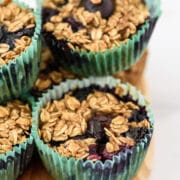 Close up of baked oatmeal muffins