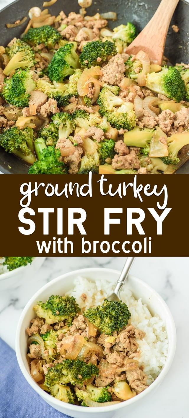 Ground turkey stir fry collage