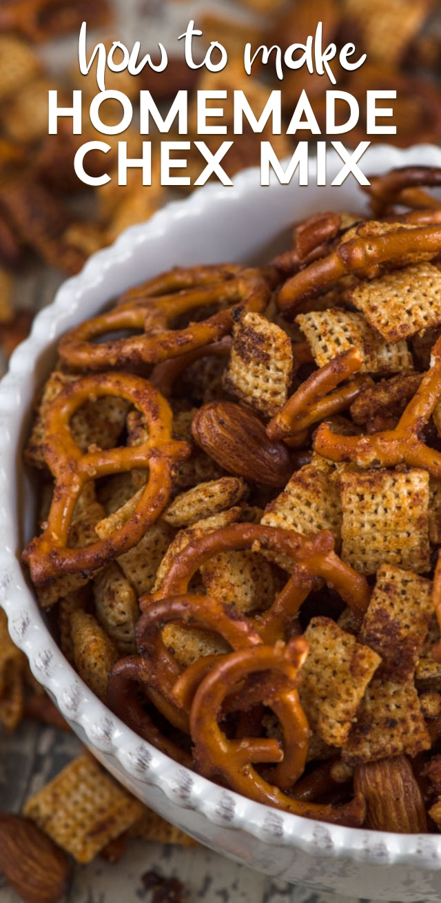 bowl of homemade Chex mix