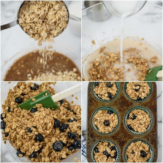 Baked oatmeal muffin process