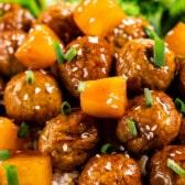 close up of teriyaki meatballs with pineapple on rice