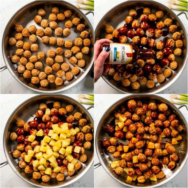 collage of teriyaki meatballs process photos