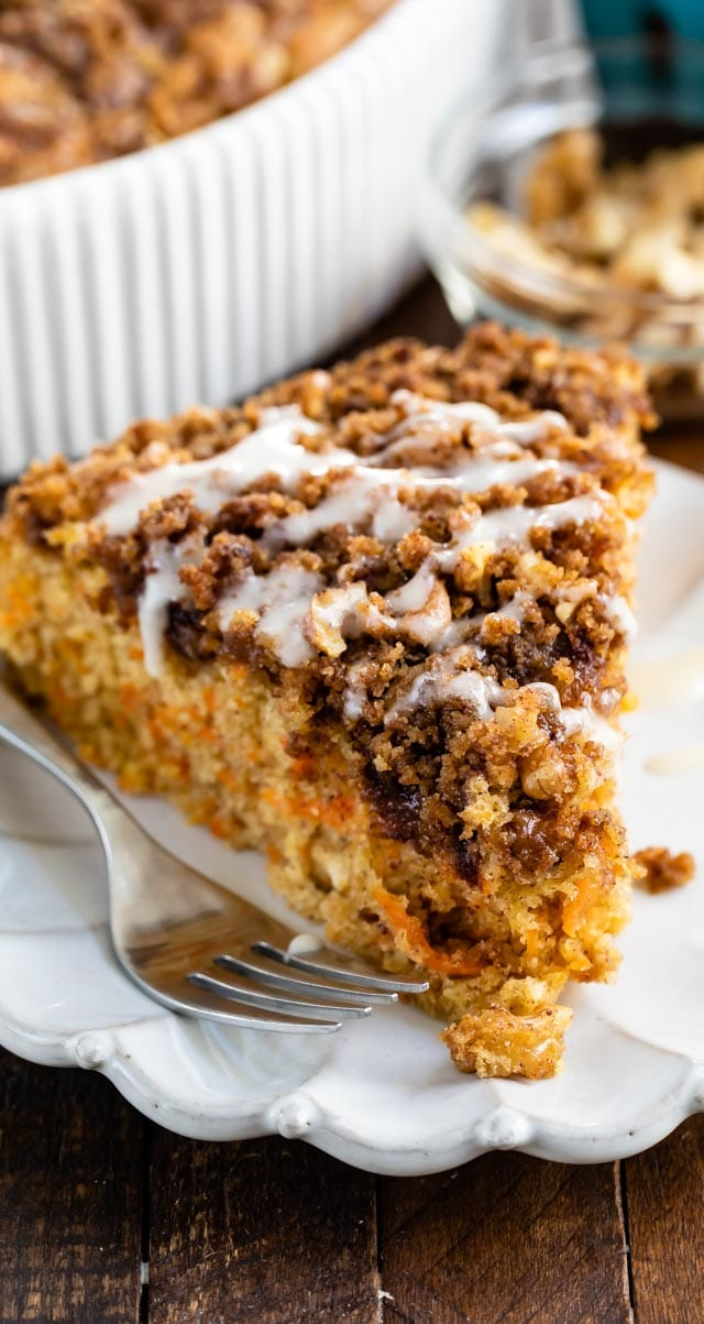 Slice of carrot cake coffee cake