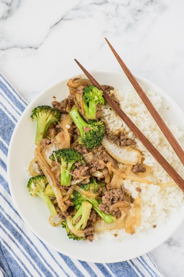 Beef broccoli with rice
