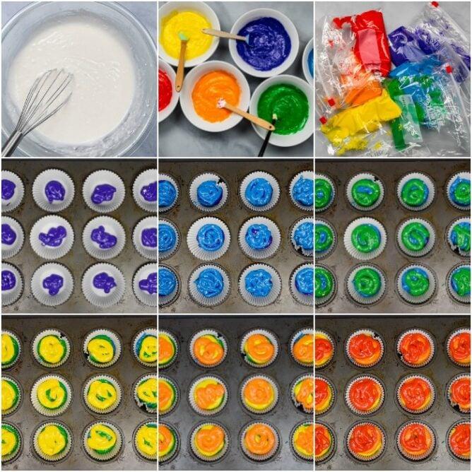 Rainbow cupcakes process